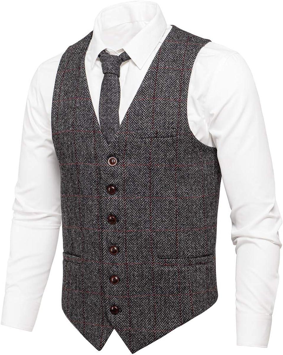 1920s Style Mens Vests VOBOOM Mens Slim Fit Herringbone Tweed Suits Vest Premium Wool Blend Waistcoat  AT vintagedancer.com