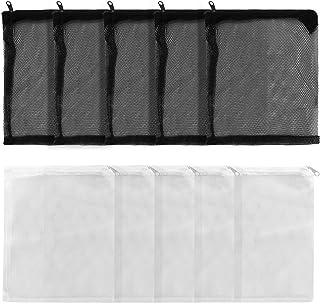 UEETEK メッシュ 袋 濾過ネット 穀物 収納ネット 10枚入り 15x20cm 水槽 アクアリウム フィルターネット 多用途 (ホワイト5枚+ブラック5枚)