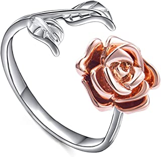 Rose Ring for Women Leaf Flower Ring Adjustable Cuff Ring