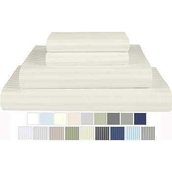 Heather 2DGJH 2DGJH15 King Stone /& Beam 100/% Cotton Dobby Stripe Sateen Sheet Set