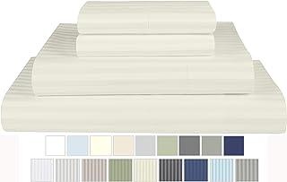 Threadmill Home Linen 600 Thread Count 100% Cotton Sheet Set, 1CM Damask Stripe Ivory Twin Sheets 3 Piece Set, ELS Cotton Bedsheets, Soft & Silky Sateen Weave Fits Mattress Up to 17'' Deep Pocket