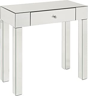 AVE SIX Reflections Foyer Table with Drawer, Silver Mirrored Finish
