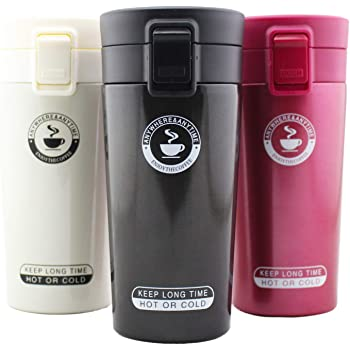 DEALPICK 304 Stainless Steel Thermos Tumbler Cups, 380ml, Set of 1, Multicolour