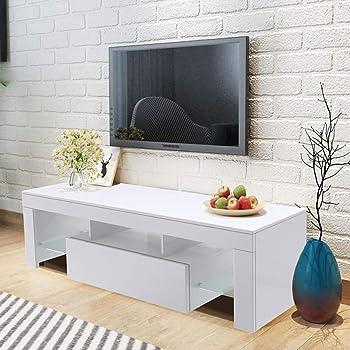 WISFORBEST Mueble TV LED Mesa para Televisión hasta 60 Pulgadas Mueble de Salón Moderno con 1 Cajón Grande y 2 Estantes de Vidrio Carga Máx 60kg 130 x 35 x 45 cm (Blanco): Amazon.es: Electrónica