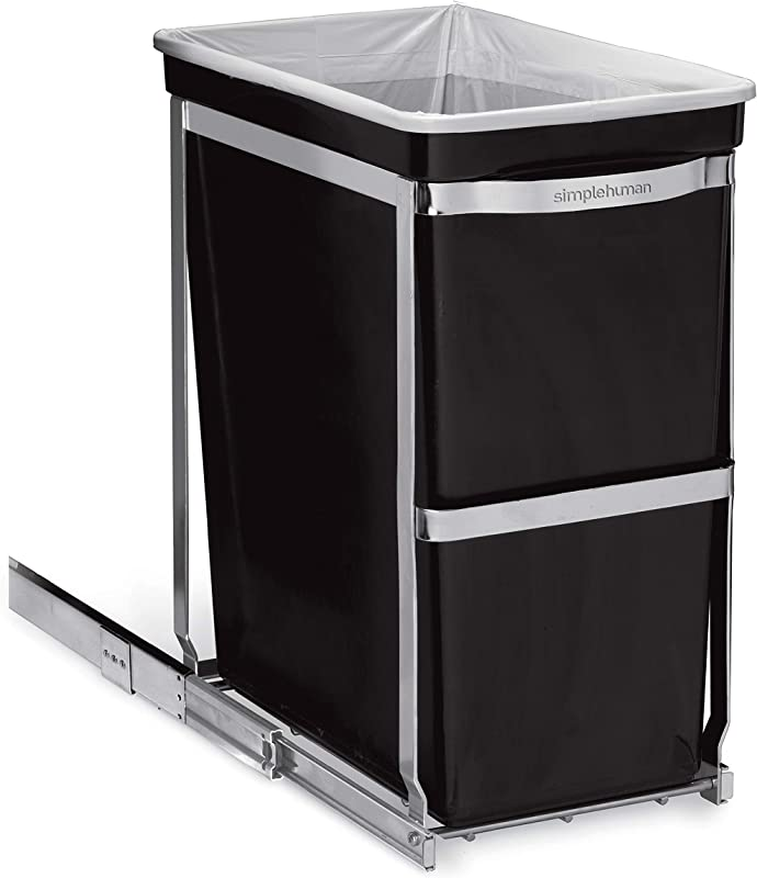 Simplehuman 30 Liter 8 Gallon Under Counter Kitchen Pull Out Trash Can Heavy Duty Steel Frame