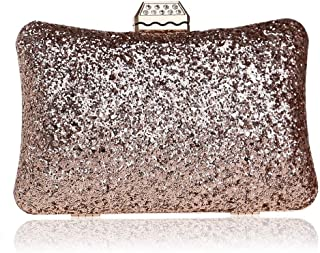 Fashion Ladies Banquet Dress Hand Evening Bag Women's Sequin Evening Bag (Color : Champagne, Size : XS)