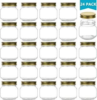 Encheng 8 oz Glass Jars With Lids,Ball Regular Mouth Mason Jars For Storage,Canning Jars For Caviar,Herb,Jelly,Jams,Honey,Dishware Safe,Set Of 24