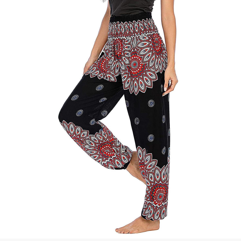NEEKEY Women's Elastic Waist Casual Comfy Joggers Pants Loose Boho Style Harem Pants Trousers Yoga Palazzo Workout Sweatpants
