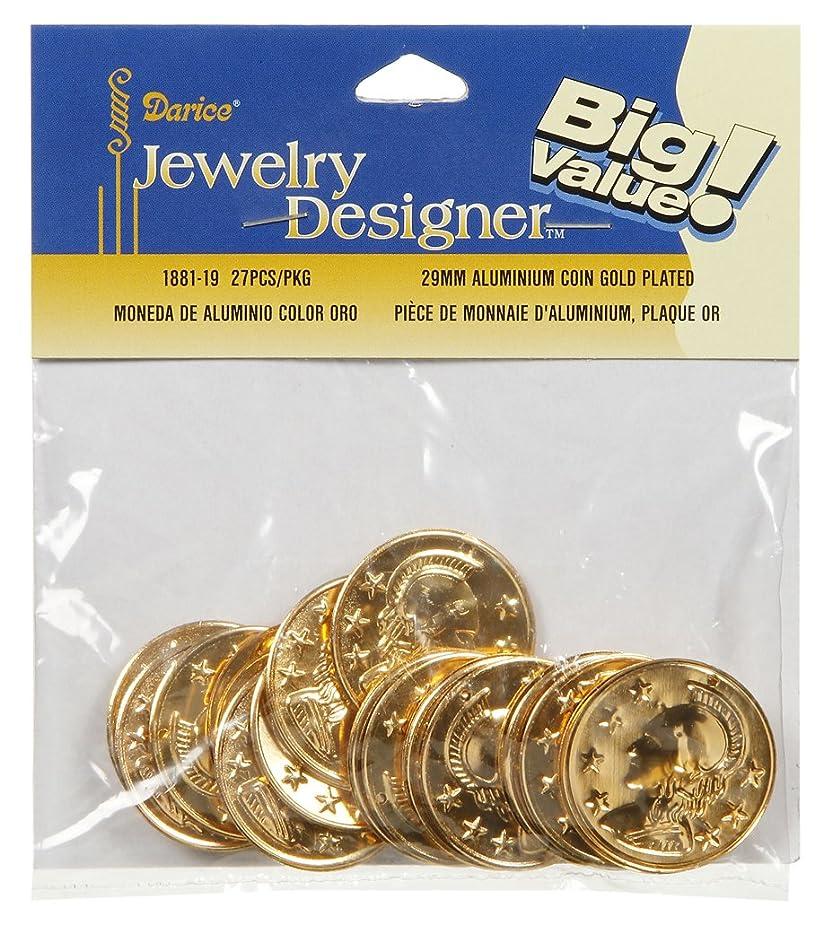 Darice 27 Piece Alumininum Gold Coin Charms, 28 mm