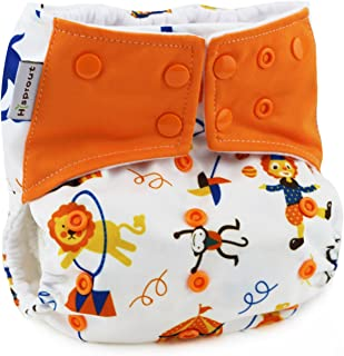 Hi Sprout Unisex Baby Reusable Washable Absorbent Cloth Pocket Diapers, Funny Circus, 5 Layer Charcoal Bamboo Insert