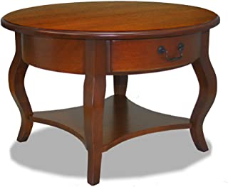 Leick French Countryside Round Storage Coffee Table, Brown Cherry
