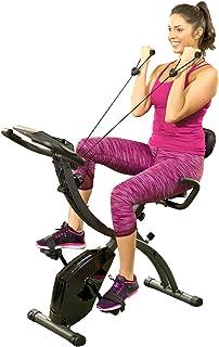 BulbHead - Bicicleta estática plegable para interiores con bandas de resistencia y monitor cardíaco, ideal para ejercicios...