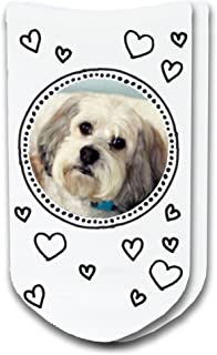 Pet Photo Socks Circle with Hearts Design - Print Your Pet on Ladies No-Show Socks
