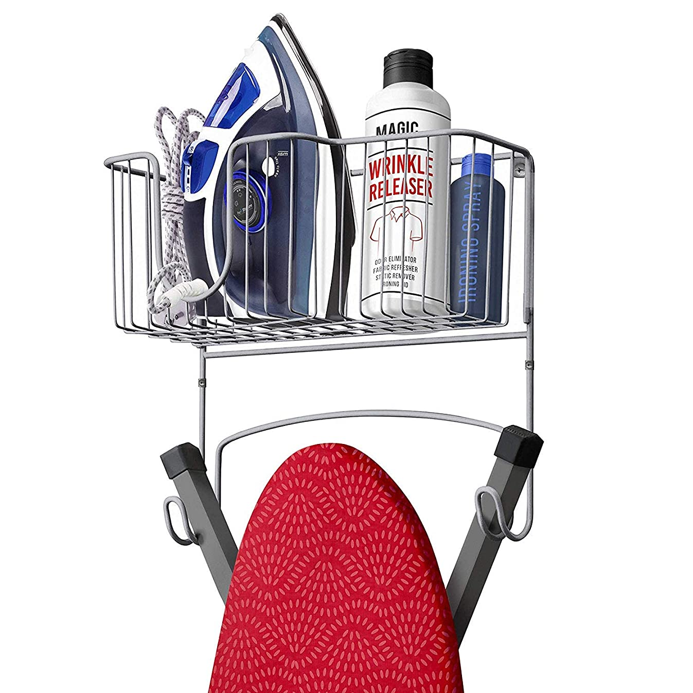 Mueller Ironing Board Hanger with Large Storage Basket and Hooks, Wall - Mount Organizer for Laundry Rooms, Heat - Resistant, Holds Iron, Ironing Board and Spray Bottles