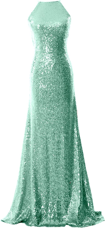 a569f20b17d MACloth Women Halter Sequin Long Bridesmaid Dress Cowlback Formal Evening  Gown