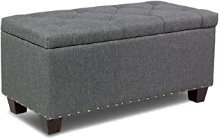 Magshion Rectangular Storage Ottoman Bench Tufted Footrest Lift Top Pouffe Ottoman, Coffee Table, Seat, Foot Rest, and More (24'', Linen Grey)