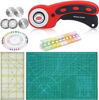 Cutter rotatif 45 mm pour tissu avec 6 lames de rechange 45 mm, tapis de découpe auto-cicatrisant A3 30 cm x 45 cm, règle ...