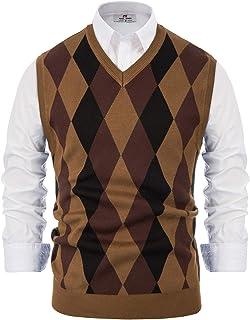 pipigo Men Waistcoat Business Stretch Slim Sweater Pullover Knit Vest