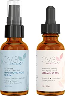 Eva Naturals Hydrate and Brighten Skincare Bundle - Includes Hyaluronic Acid Serum and 20% Vitamin C Serum - Restores Lost Moisture, Plumps Skin while Toning and Brightens and Smooths the Complexion