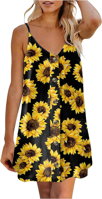 XIEXIEBUY Womens Sunflower Print Dresses Spaghetti Strap Down Buttons Mini Dress