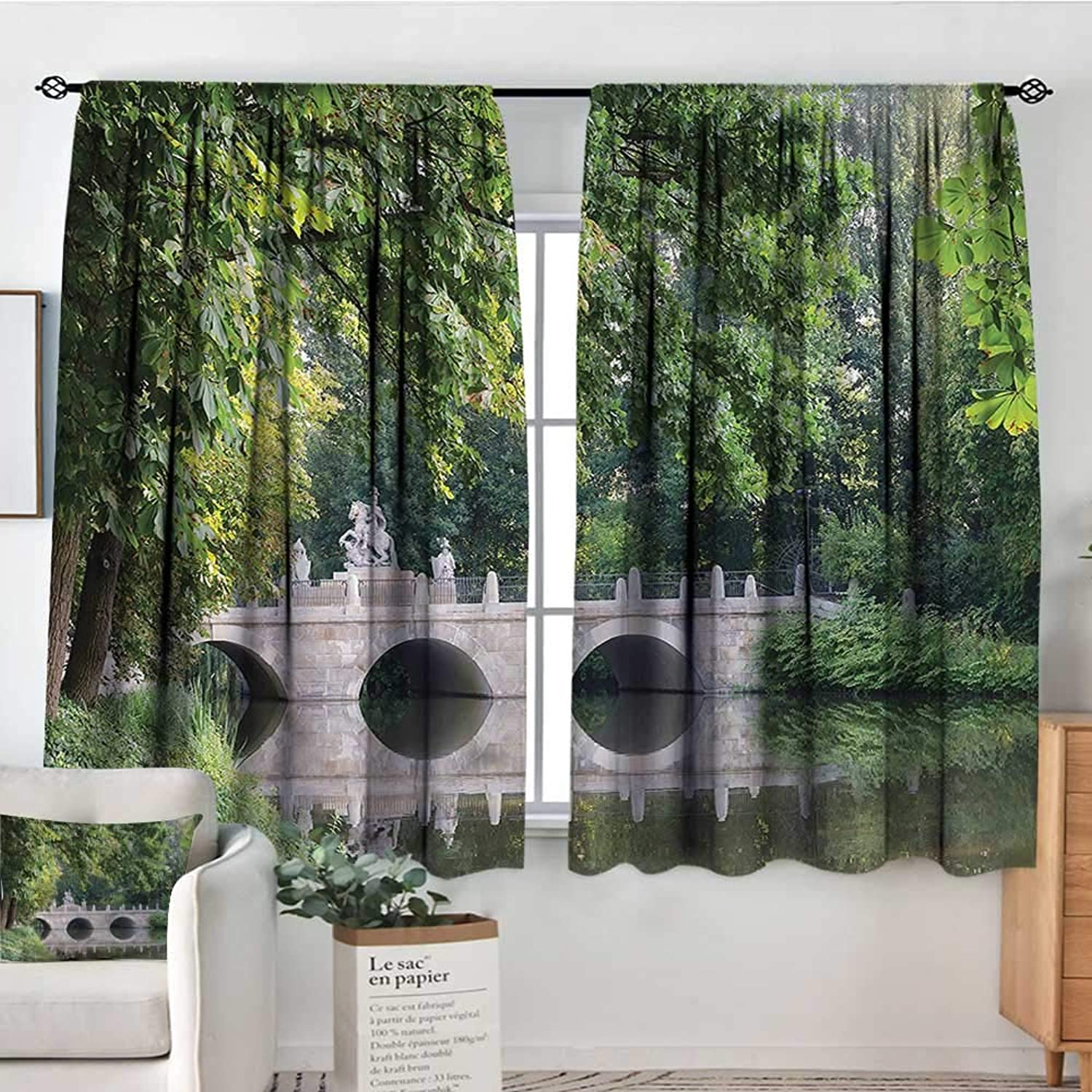 Landscape,Door Curtains Ancient Stone on Creek 52 x63  Home Decor Fashion Backout Draperies