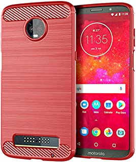Moment Dextrad Moto Z3 Play Case,Anti-Fingerprint Protective Bumper Soft TPU Cover with Shock-Absorption and Carbon Fiber Design + Stylus (Red)