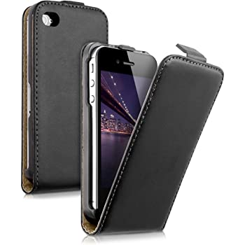 kwmobile Hülle kompatibel mit Apple iPhone 4 / 4S - Handy Case Handyhülle - Flip Schutzhülle in Schwarz