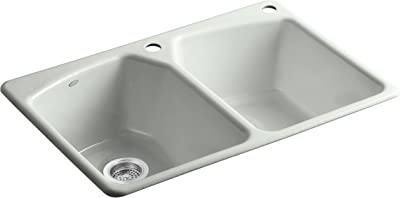 Kohler K-6491-2R-FF Tanager Self-Rimming Kitchen Sink with Single-Hole Faucet Drilling and One Accessory Hole at Right, Sea Salt