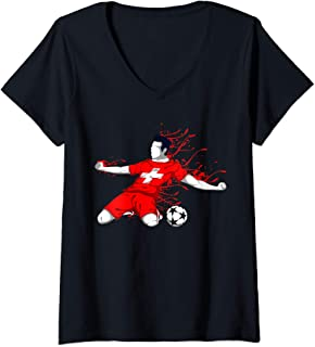 Womens Switzerland National Soccer Team Jersey Swiss Football Lover V-Neck T-Shirt