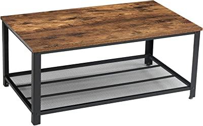 YMYNY Industrial Coffee Table, 2 Tier Cocktail Table, Metal Frame Living Room Sofa Table, Wood Look Home Storage Accent Furniture, Easy Assembly, Rustic Brown UTMJ012H