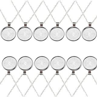 IGOGO Round Pendant Trays and 24 Inch Length Vintage Style Necklaces Antique Bronze,1 Inch,12 PCS