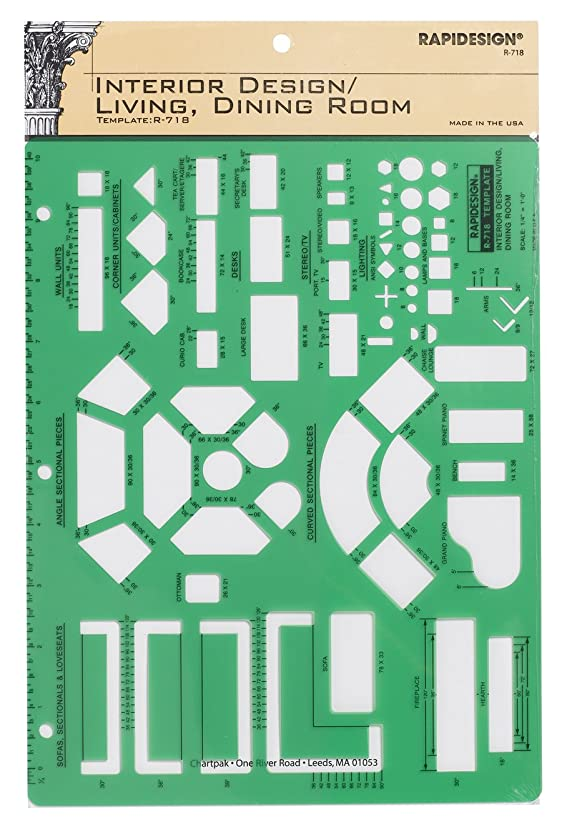 Rapidesign Interior Design Template for Living/Dining Rooms, 1 Each (R718)