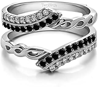 TwoBirch Sterling Silver Double Row Infinity Ring Guard Enhancer with Black and White CZ (0.38 ct. tw.)