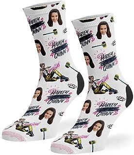 Super Socks, Calcetines personalizados de Harley Quinn Graphics | Calcetines de fotos personalizados | Polialgodón suave personalizado novedad regalos para mujeres y hombres – Añade tu foto