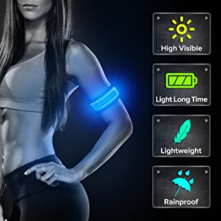 BSEEN LED Armband, 2 Pack High Visibility Light Up Sports Wristbands, Adjustable Glowing Bracelets for Runners, Joggers, Pet Owners, Cyclists