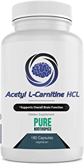 Pure Nootropics - Acetyl L-Carnitine (ALCAR) 500 mg Capsules   180 Veg Cap Value Pack   Neuroprotective Supplement & Memory Support   in House & Rigorous 3rd Party Testing for Higher Purity & Potency