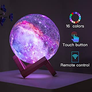 BRIGHTWORLD Kids Night Light Moon Lamp Galaxy Lamp 5.9 inch 16 Colors LED 3D Star Moon Light with Wood Stand, Remote & Touch Control USB Rechargeable Baby Light for Girls Lover Christmas