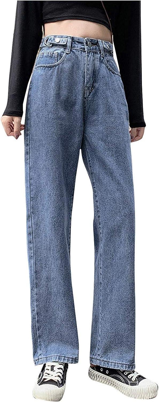 Women's Casual Pants Hight Waist Distressed Straight Denim Jeans Vintage Sexy Boyfriend Trousers