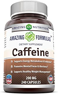Amazing Formulas Caffeine 200 Mg 240 Capsules (Non-GMO) - Supports Energy Metabolism & Endurance* -Promotes Mental Focus & Alertness* -Supports Healthy Weight Management*