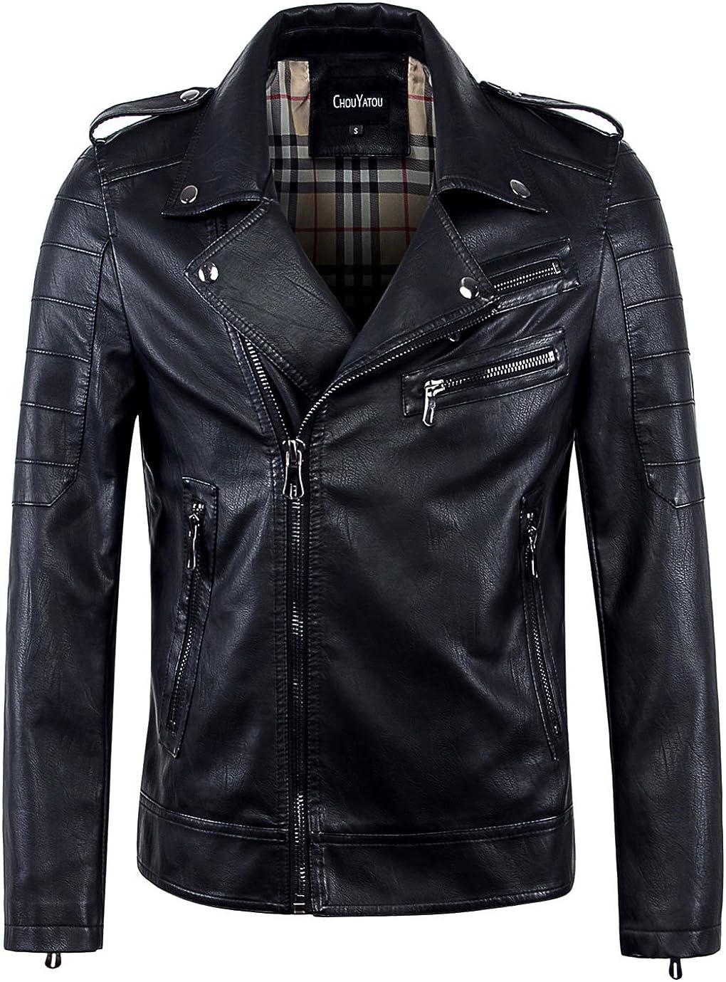 chouyatou Men's Vintage Asymmetric Zip Lightweight Faux Leather Biker Jacket