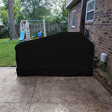 98 Inch Island BBQ Grill Head Cover Heavy Duty Waterproof Weather Resistant Outdoor BBQ Cover, Black