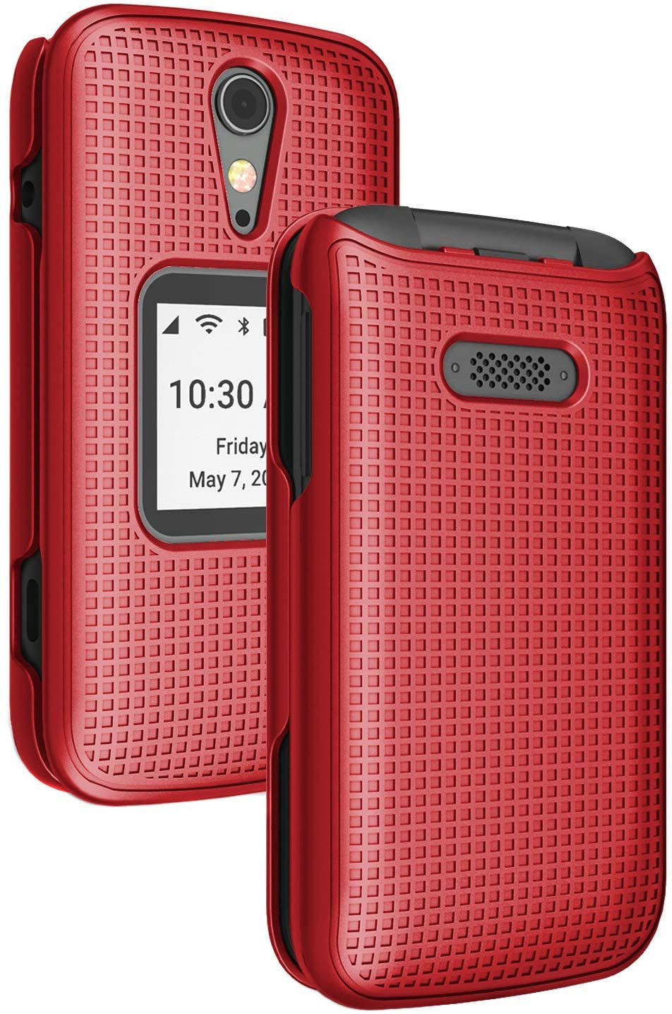 Case for Jitterbug Flip2, Nakedcellphone [Red] Protective Snap-On Hard Shell Cover [Grid Texture] for Jitterbug Flip 2 Phone (aka Lively Flip) (4053SJ7)