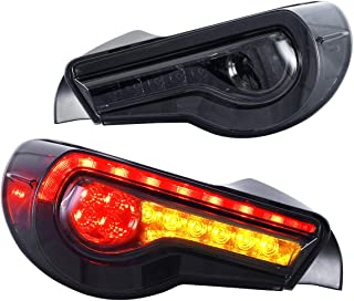 YUANZHENG LED Tail Lights for Scion FR-S 2012 2013 2014 2015 2016 (Tail Light Assembly with Amber Sequential and Full LED DRL Bars) YAB-86-0287-HRC (Smoke)