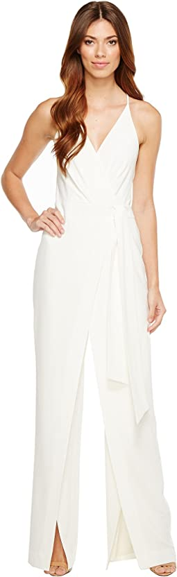 Sleeveless Deep V-Neck Faux Wrap Jumpsuit w/ Sash
