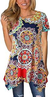 MIROL Womens Summer Short Sleeve Floral Print Irregular...