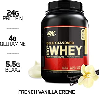 OPTIMUM NUTRITION GOLD STANDARD 100% Whey Protein Powder, French Vanilla Creme, 2 Pound