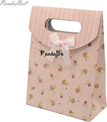 6.5x5x2.2.6 inch Beige Polka Dot Black Red Tower Pattern Paper Pouch Gift Bags