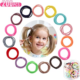 200 Pieces Mini Elastic Hair Ties Multicolor No Crease Hair Bands Seamless Ponytail Holder with Storage Box for Women Girls