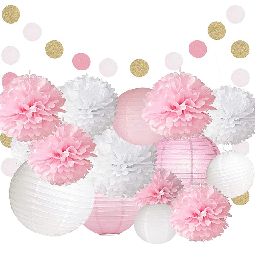 KEZAY Pink and White Party Supplies with Paper Lanterns and Tissue Pompoms Flowers Kit Hanging Swirl for 1st Baby Girl Birthday Decorations