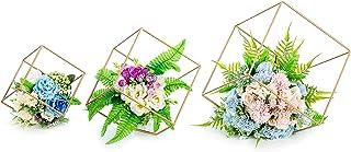 Nuptio 3 Stukken Bloemenvazen voor Tafel, Metalen Zeshoekige Bloemenstandaard, Centerpieces voor Bruiloftstafels, Geometri...